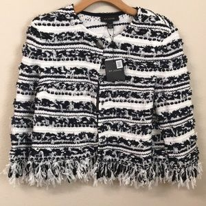 St. John Jackets & Coats - St. John Fringe Knit Blazer White Blue Striped L